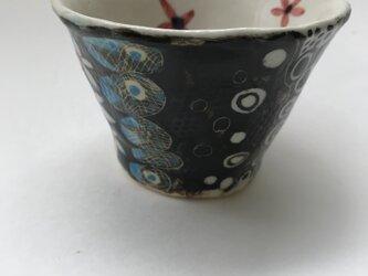 陶芸 手びねり 手作り 色絵つけカップの画像