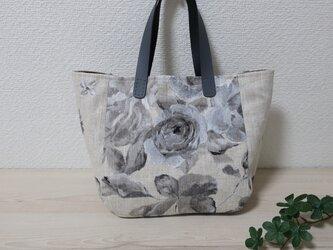 フランス花柄リネンGシンプルトートバックの画像
