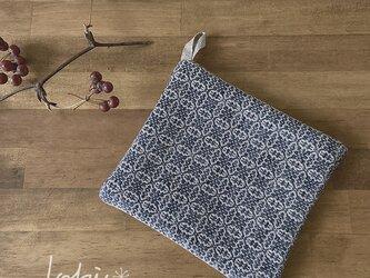 手織り ポットマット ネイビーの画像