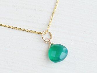 【14kgf・ネックレス】一粒 グリーン オニキス・天然石の画像