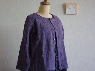ベルギーリネンの八分袖カーディガン グレープ色の画像