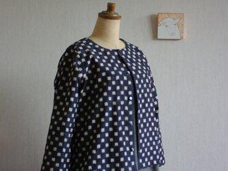 久留米絣の八分袖カーディガン チャコールグレー市松の画像