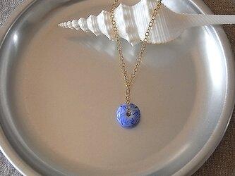 ガラス球ネックレス・青・ガラス製の画像