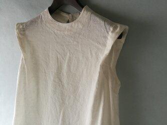 ◆出品予定◆ ハイネック・ノースリーブドレス 【薄地】 / 本近江織麻布 オフ白の画像