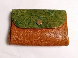 本革 グリーンブラウン アコーディオン コインケース カードケース 財布の画像