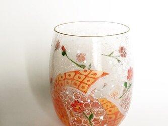 コロコロ可愛いお花と鹿の子リボンのグラスの画像