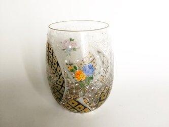 コロコロ可愛いお花と鹿の子リボンのグラス黒の画像