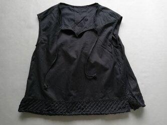 ◆綿ローン・フレンチスリーブ&カットフリンジ / ダークネイビーの画像