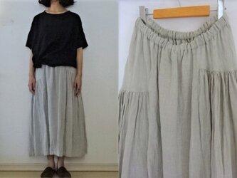【受注制作】淡グレー 天日干し薄手60リネン サイドギャザースカートの画像