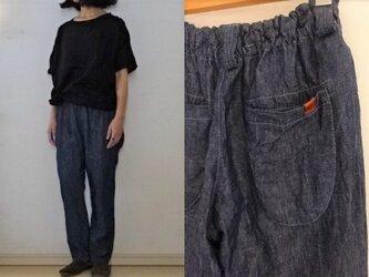 【受注制作】夏インディゴリネンデニム ゆるりパンツの画像