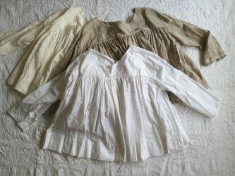 ◆出品予定◆ ギャザープルオーバー / 白 綿ブロードの画像