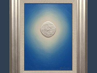 ●『プラチナ青のひかり』●がんどうあつし絵画油絵シルバー銀ブルー光涼しい冷静沈静の画像