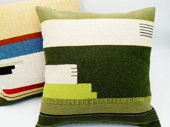 シルク糸の手織り・クッションカバー/45×45(カーキ)の画像