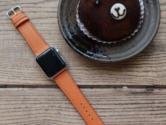 高級革使用のApple Watchベルト 時計ベルト オレンジ レザー 腕時計 革ベルト 皮 革の画像