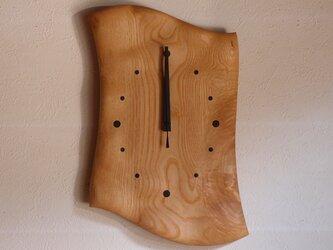 無垢の木の電波掛け時計 くり 0070の画像