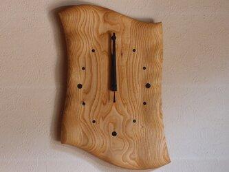 無垢の木の電波掛け時計 くり 0071の画像
