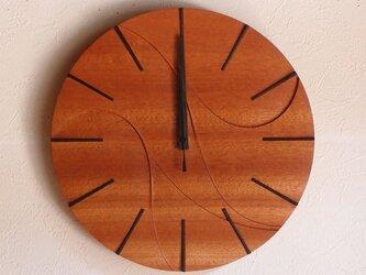 無垢の木の電波掛け時計 サペリ 0004の画像