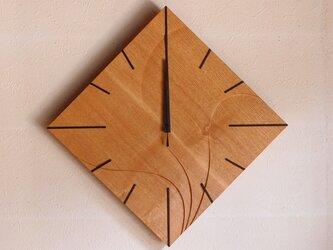 無垢の木の電波掛け時計 タモ 0018の画像