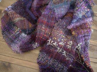手織り ボリュームストール 秋冬糸の画像