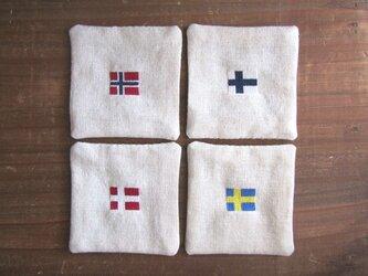 北欧国旗コースター 4カ国4枚セット の画像