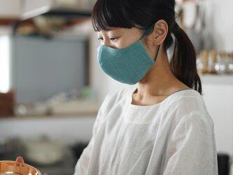 【白群(びゃくぐん)/立体マスク】リネンマスク 夏マスク 2重仕様 先染めリネン100% 抗菌 防臭 速乾/z021e-byg2の画像