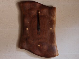 無垢の木の電波掛け時計 ブラックウォールナット 0054の画像