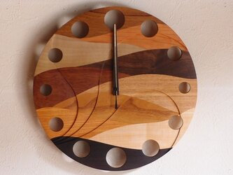 無垢の木の電波掛け時計 ウェーブ 0017の画像