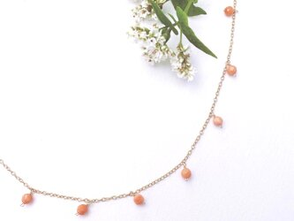 K14GF 桃色珊瑚のネックレスの画像