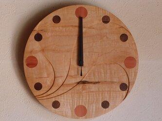 無垢の木の電波掛け時計 かえで 0016の画像