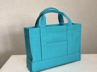 通勤通学トートバッグ「oblong」ターコイズブルー×ホワイトの画像