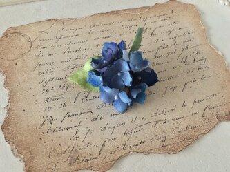染め花の紫陽花のポニーフック(ブルー)の画像