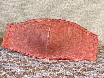 夏用 ベラルーシリネンシャンブレーの立体マスク ノーズワイヤーフィルターポケットついてますの画像