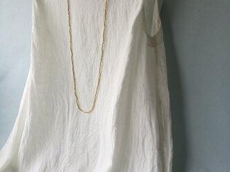 ◆ハイネック・ノースリーブドレス  / 本近江織麻布 オフ白の画像