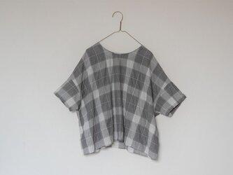 播州織チェック シンプルTシャツブラウス グレーの画像