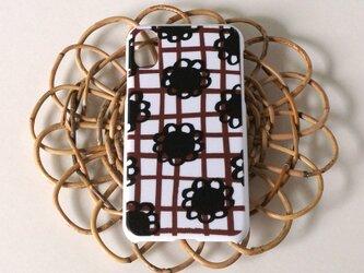 【iPhone/Android】表面のみ印刷*ハード型*スマホケース「flower check ( brown×black )」の画像