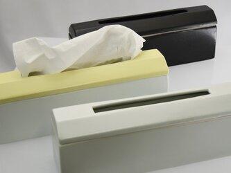 ティッシュケース Slim イエロー 陶器 磁器 おしゃれでモダンなデザインの画像