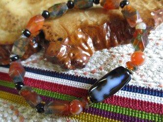 開光 双面観音天珠と天眼石、古い苔瑪瑙のブレスレットの画像