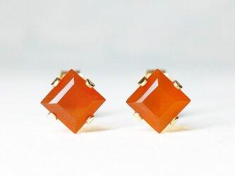 【7月誕生石】上品なオレンジ。カーネリアンのピアス [送料無料]の画像