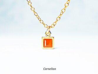 【7月誕生石】輝くオレンジ。カーネリアンのネックレス [送料無料]の画像