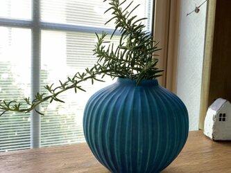 花瓶 ターコイズブルーhの画像