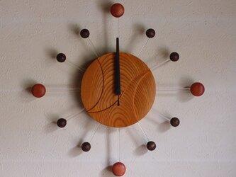 無垢の木の電波掛け時計 けやき 0077の画像