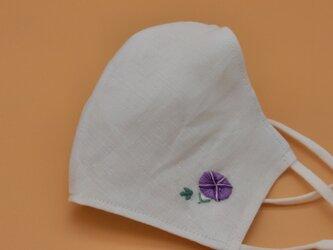 刺繍❁麻×ソフトさらしの立体マスク(調節ゴム・ポケット付き)の画像
