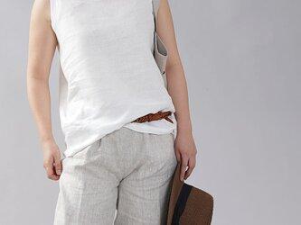 【Lサイズ】【wafu】薄地 雅亜麻 リネン タンク タンクトップ 肌触りの良いリネン 丸首/白色 p004b-wht1の画像