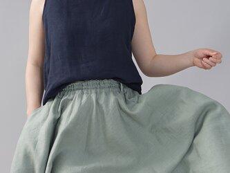 【Lサイズ】【wafu】薄地 雅亜麻 リネン タンク タンクトップ 肌触りの良いリネン 丸首/紺青 p004b-kju1の画像