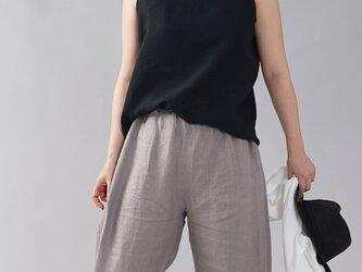 【Lサイズ】【wafu】薄地 雅亜麻 リネン タンク タンクトップ 肌触りの良いリネン 丸首/黒色 p004b-bck1-lの画像