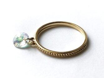 【リング・指輪/アイスブルーのオーロラリング】 スワロフスキー使用の指輪の画像