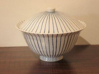 土物染付木賊紋 丼鉢 蓋付きの画像