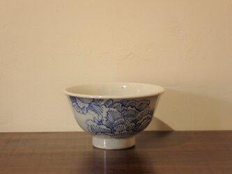 土物染付牡丹紋 飯碗の画像