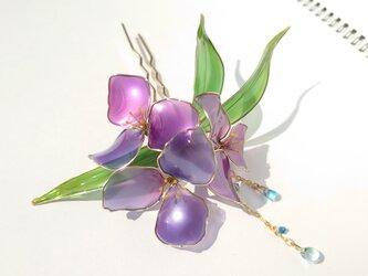 紫露草の髪飾りの画像
