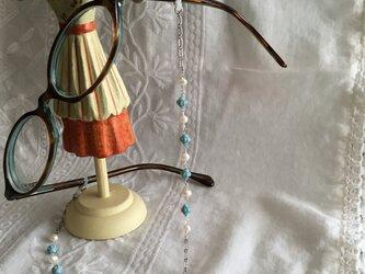 メガネチェーン  水色チェコビーズと淡水真珠 M4の画像